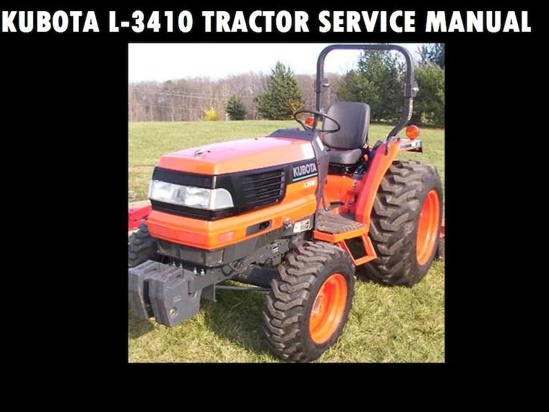 KUBOTA L3410 Workshop Service Manual 675pg w/ RC72 Mower Etsy