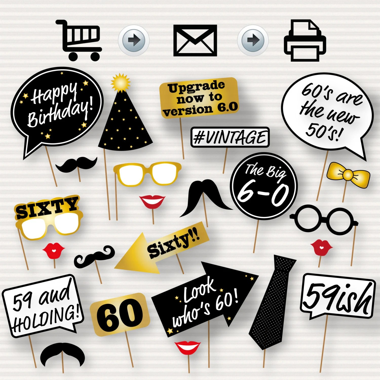 60th Birthday Party Printable Photo Booth Props Glasses Etsy