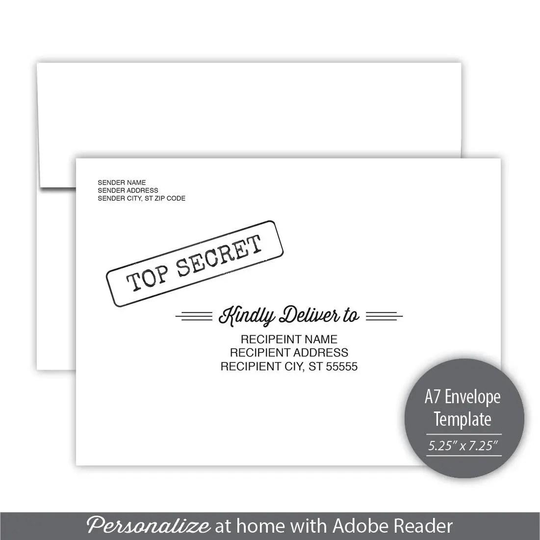 Top Secret A7 Envelope Template Instant Download Etsy