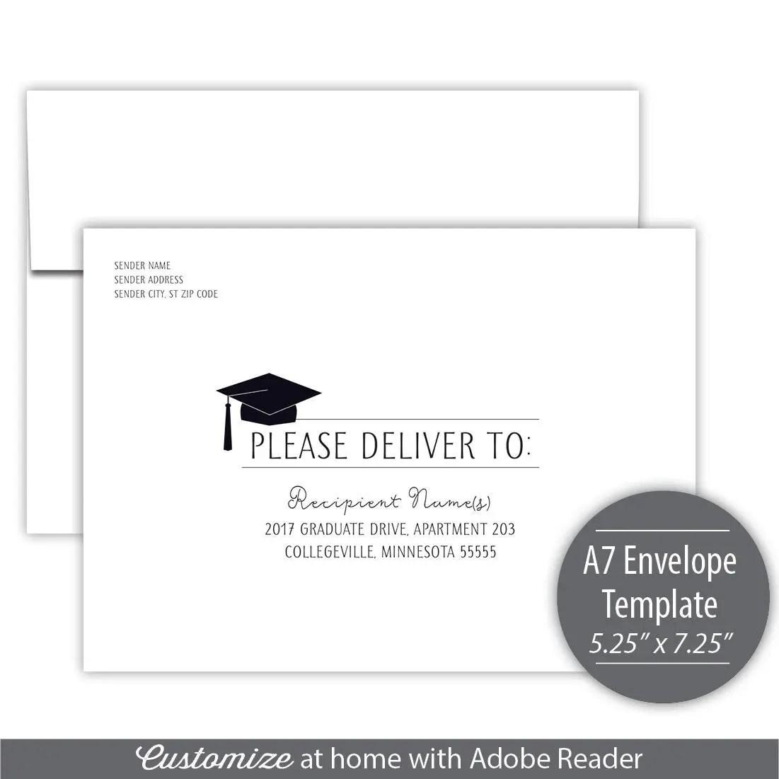 Graduation Fiesta A7 Envelope Template Instant Download Etsy