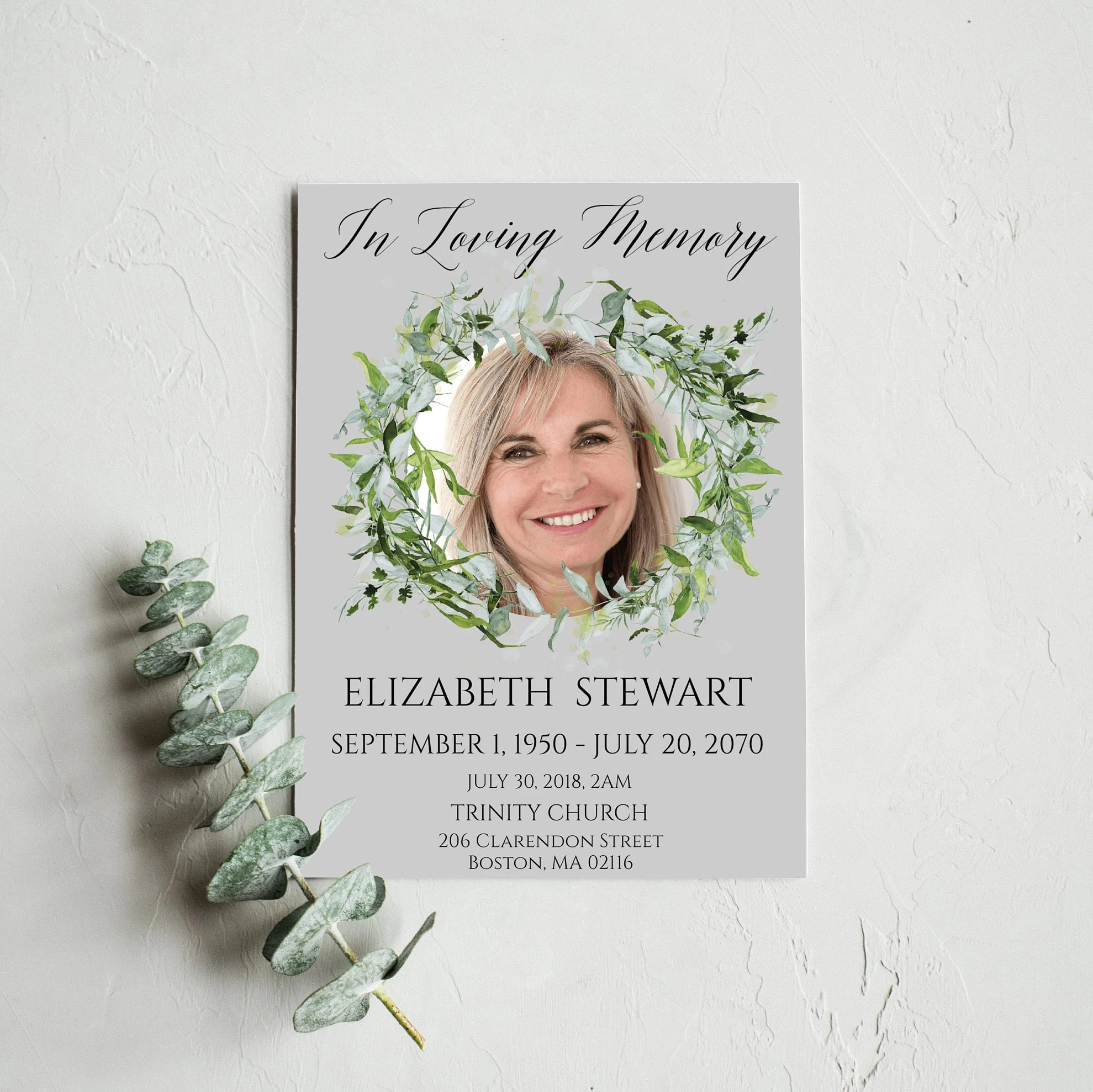 Funeral Program Template Instant Download Modern Funeral Etsy