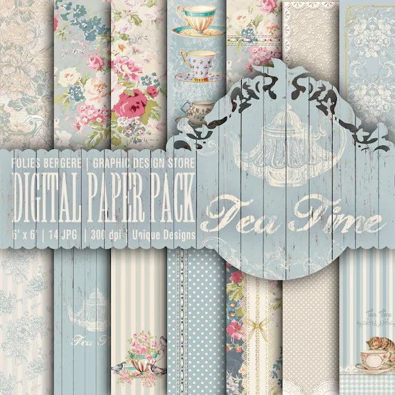 Tea Time Digital Paper Pack Tea Party Printable Paper Shabby Etsy