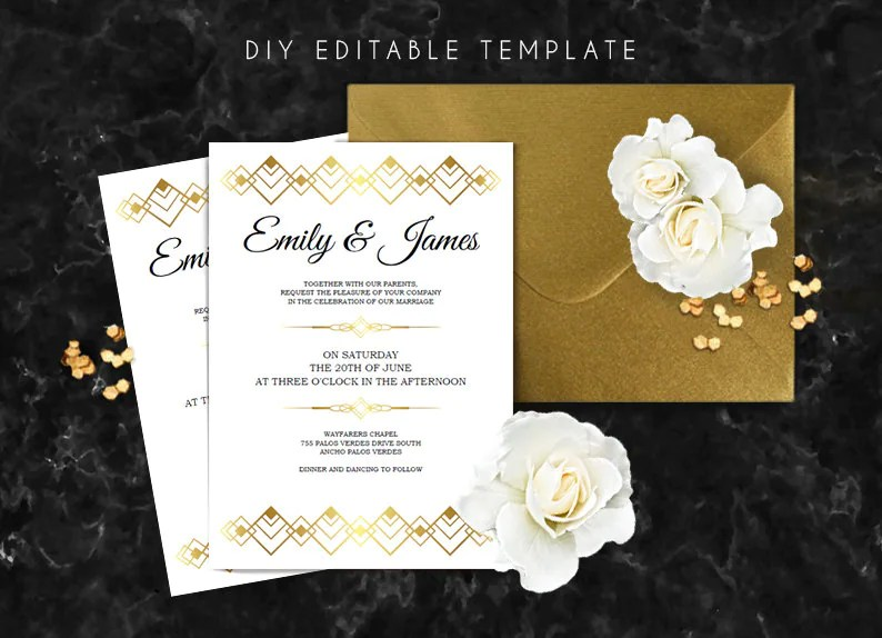 Editable wedding invitation template Great gatsby wedding Etsy