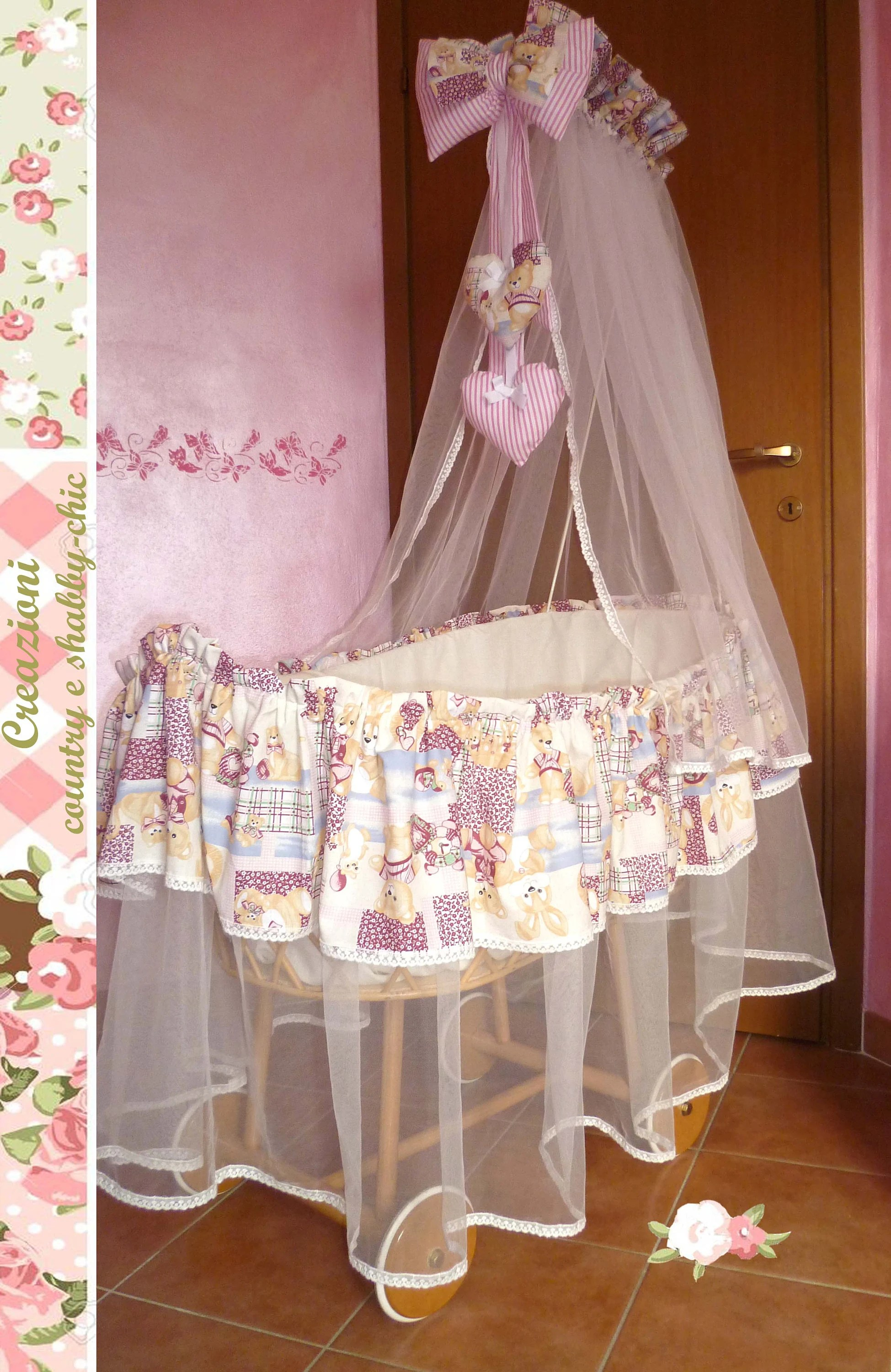 Baby Bassinet Linen Bassinet Coating Bassinet Baby Canopy Bassinet Skirt Cradle Skirt Bassinet Cover Birth Announcement Bow Baby Bed Linen Tulle Veil To Cot