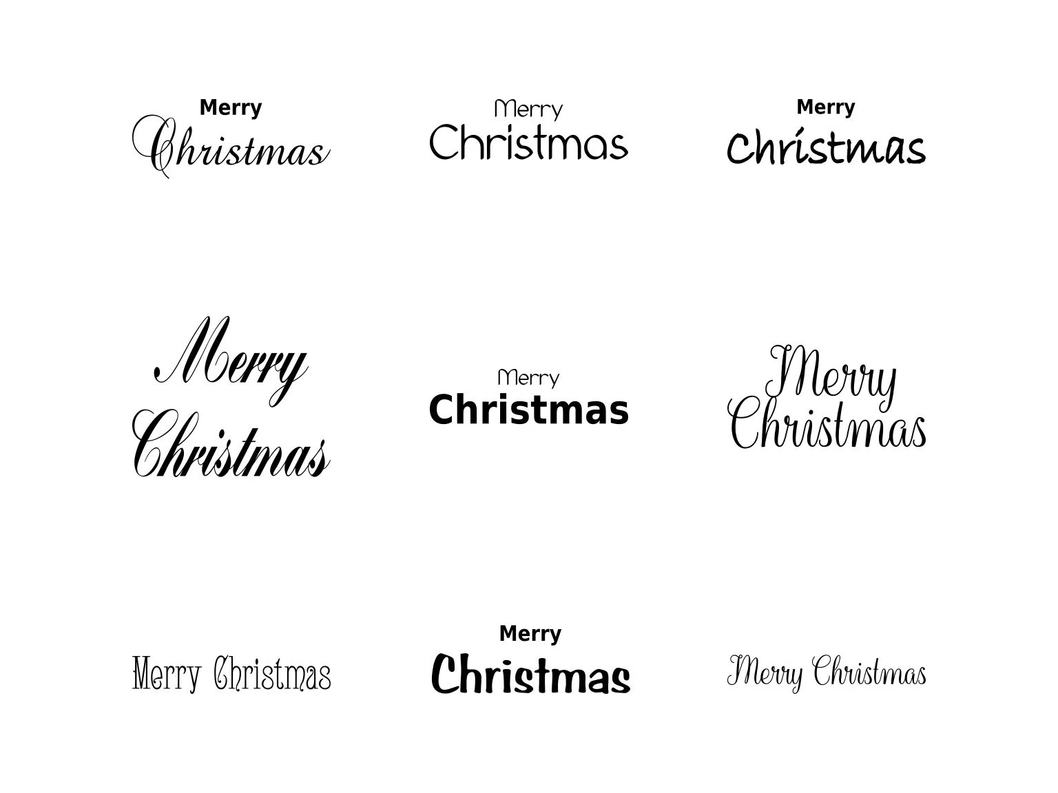 Merry Christmas Words Svg Christmas Card Words Merry Etsy