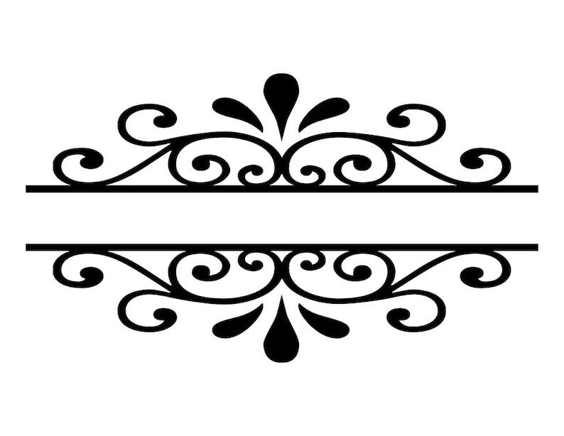 Scroll Border Flourish SVG Cutting File Decorative Word Etsy