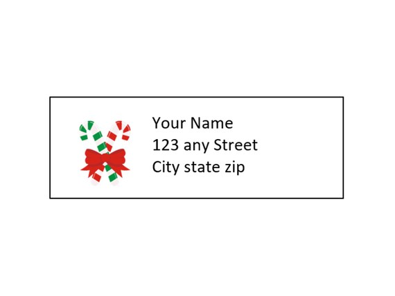Christmas Return Address Label Template Candy Cane Etsy