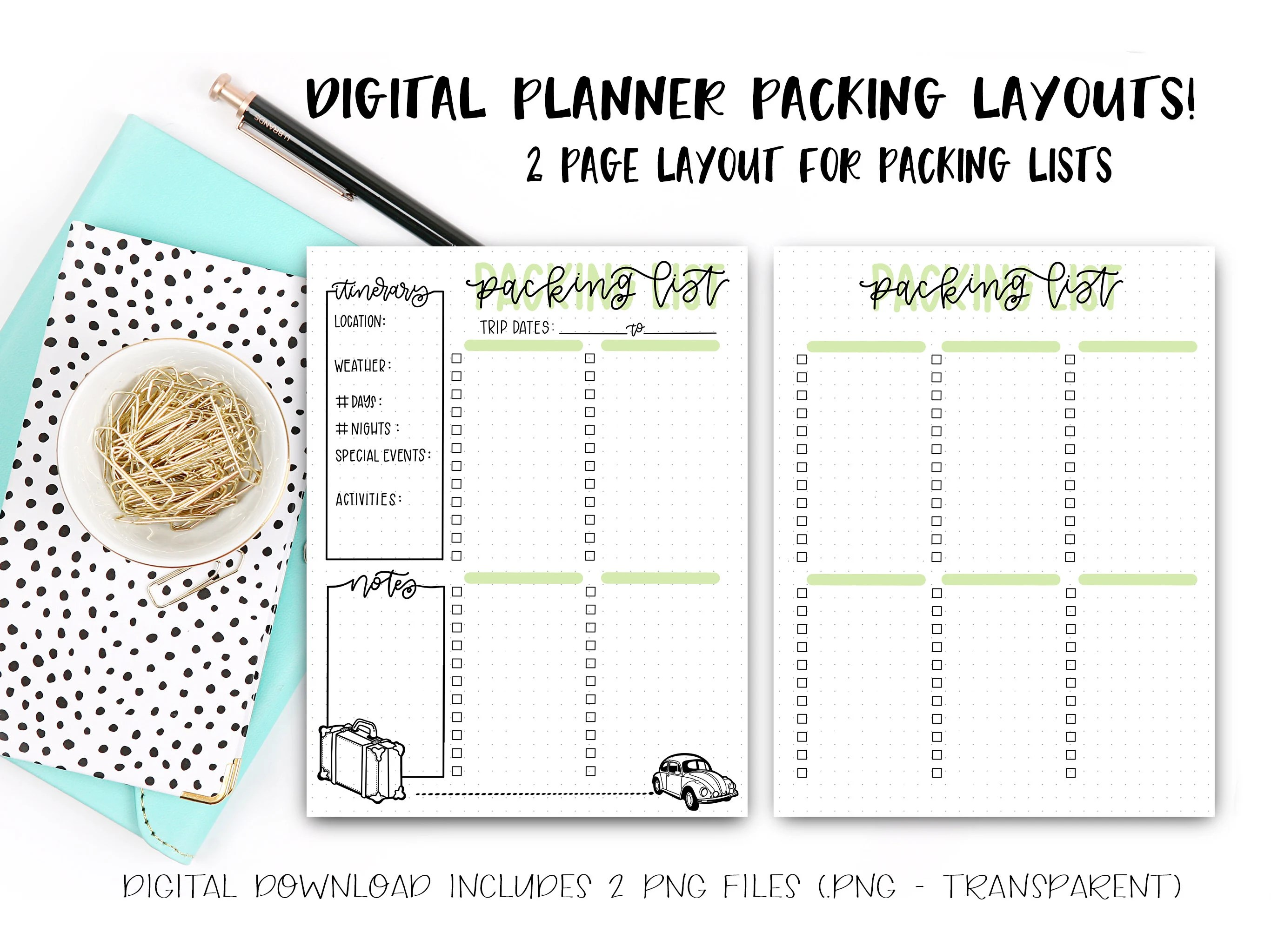 Digital Planner Pages Packing List Template Layout Etsy