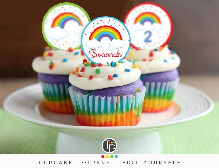 RAINBOW PARTY Instant download Rainbow Cupcake Toppers Etsy