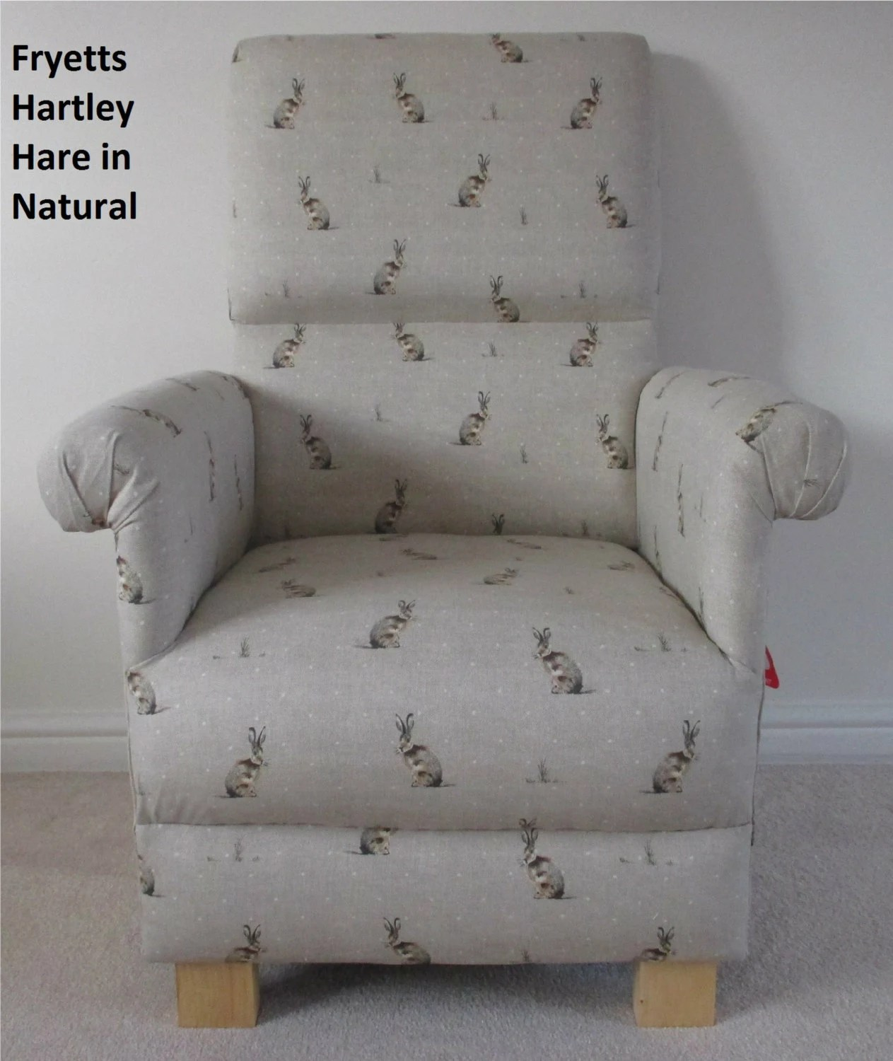 Wohnzimmermöbel Taupe Fryetts Hartley Hare Fabric Adult Chair Rabbits Armchair Bunnies Animals Natural Beige Or Duck Egg Nursery Bedroom