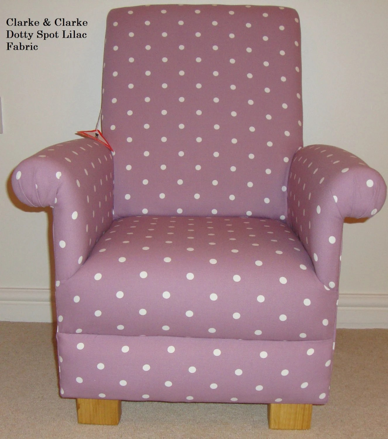 Chintz Sessel Clarke Clarke Dotty Spot Fabric Child Chair Lilac Blue Pink Purple Green Kids Nursery Armchair Toddler Polka Dot Shabby Chic