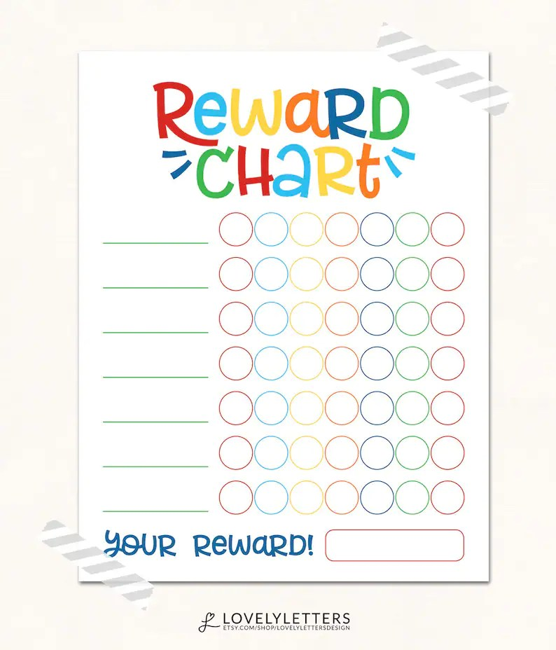 Reward Chart / DIGITAL / Kids Reward Chart / Progress Chart / Etsy