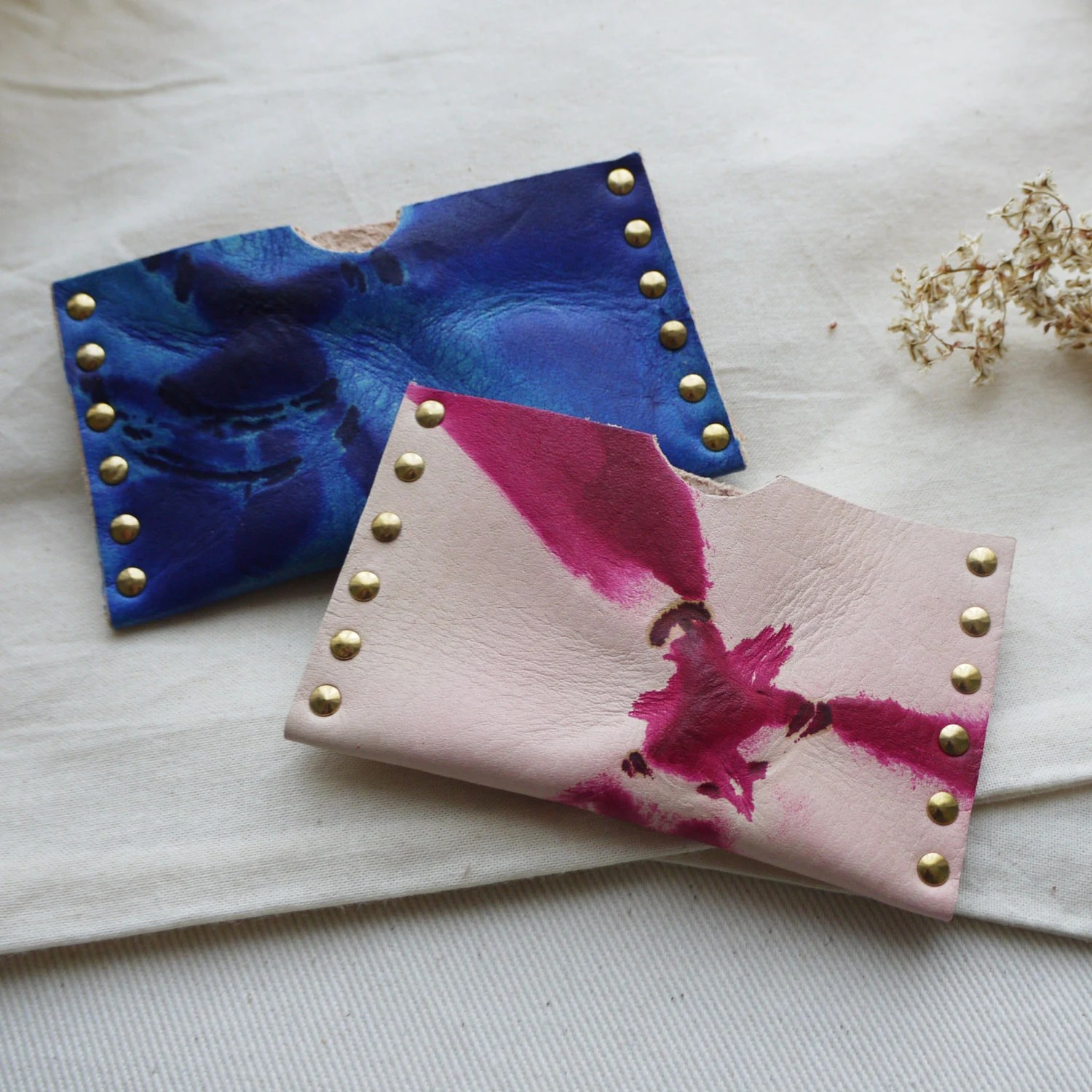 Leather Card Holder Tie Dye Leather Business Card Holder