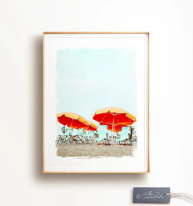 Beach umbrella print Beach PRINTABLE art Ocean print Trendy Etsy