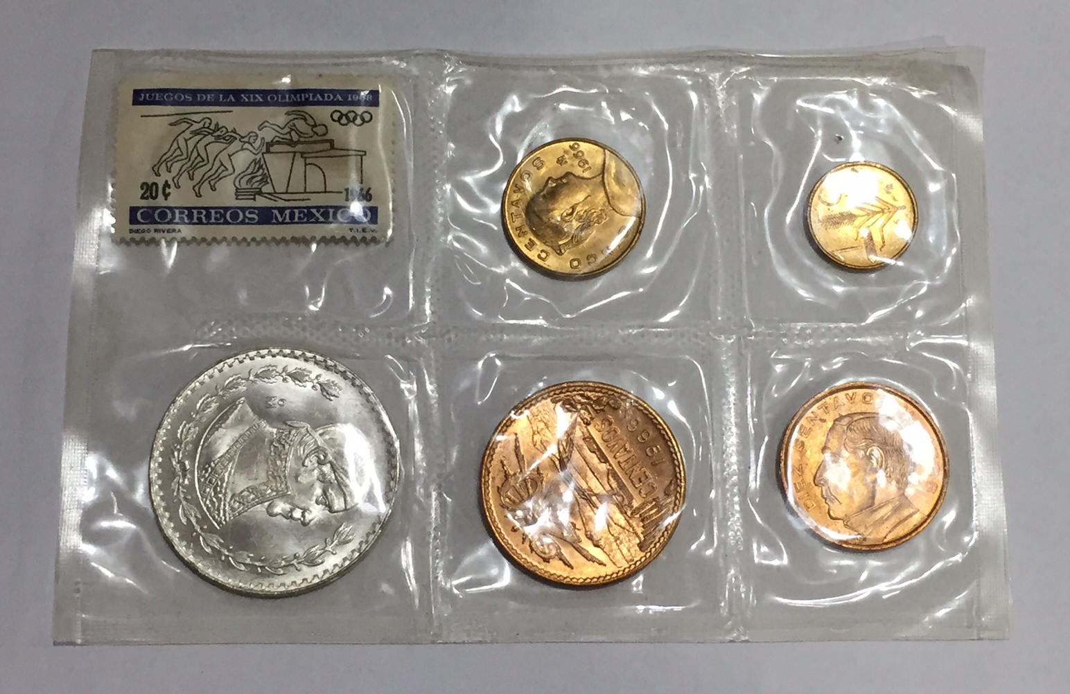 Mint Set 1966 Mexico Coin Mint Set Unc Silver Peso