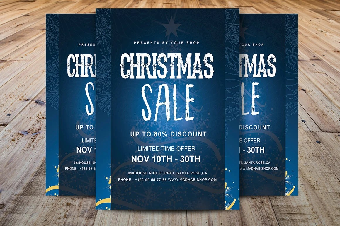 Christmas Sale Flyer Template Christmas Flyer Black Friday Etsy