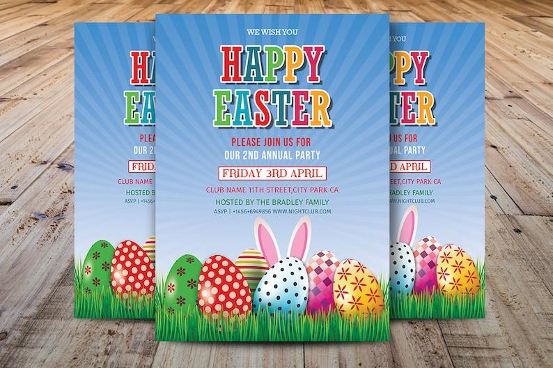 Easter Party Flyer Easter Egg Hunt Flyer Template Easter Etsy