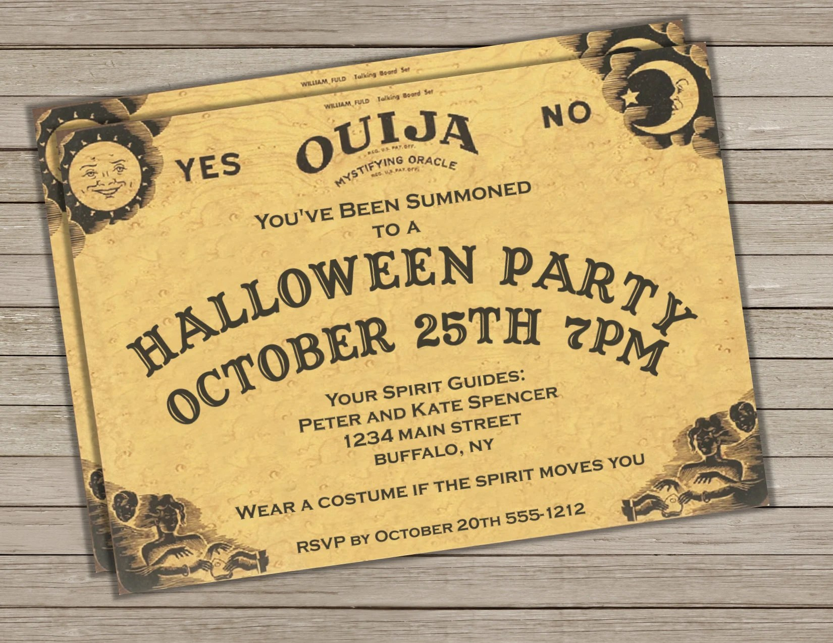 Ouija Board Halloween Invitation Invite Halloween Invitation Etsy