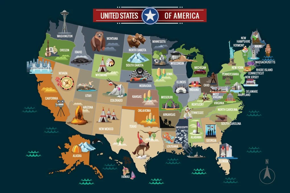 World Map Kids Animated USA map with Animals and Etsy
