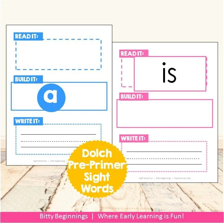 Read It, Build It, Write It Dolch Pre-Primer Sight Word Set