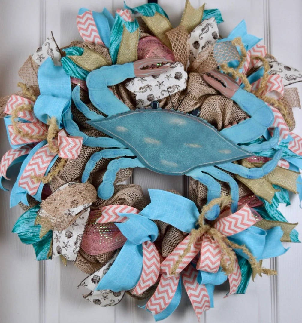 Nautical House Decor Blue Crab Beach Burlap And Mesh Wreath Nautical Beach Shore Decor