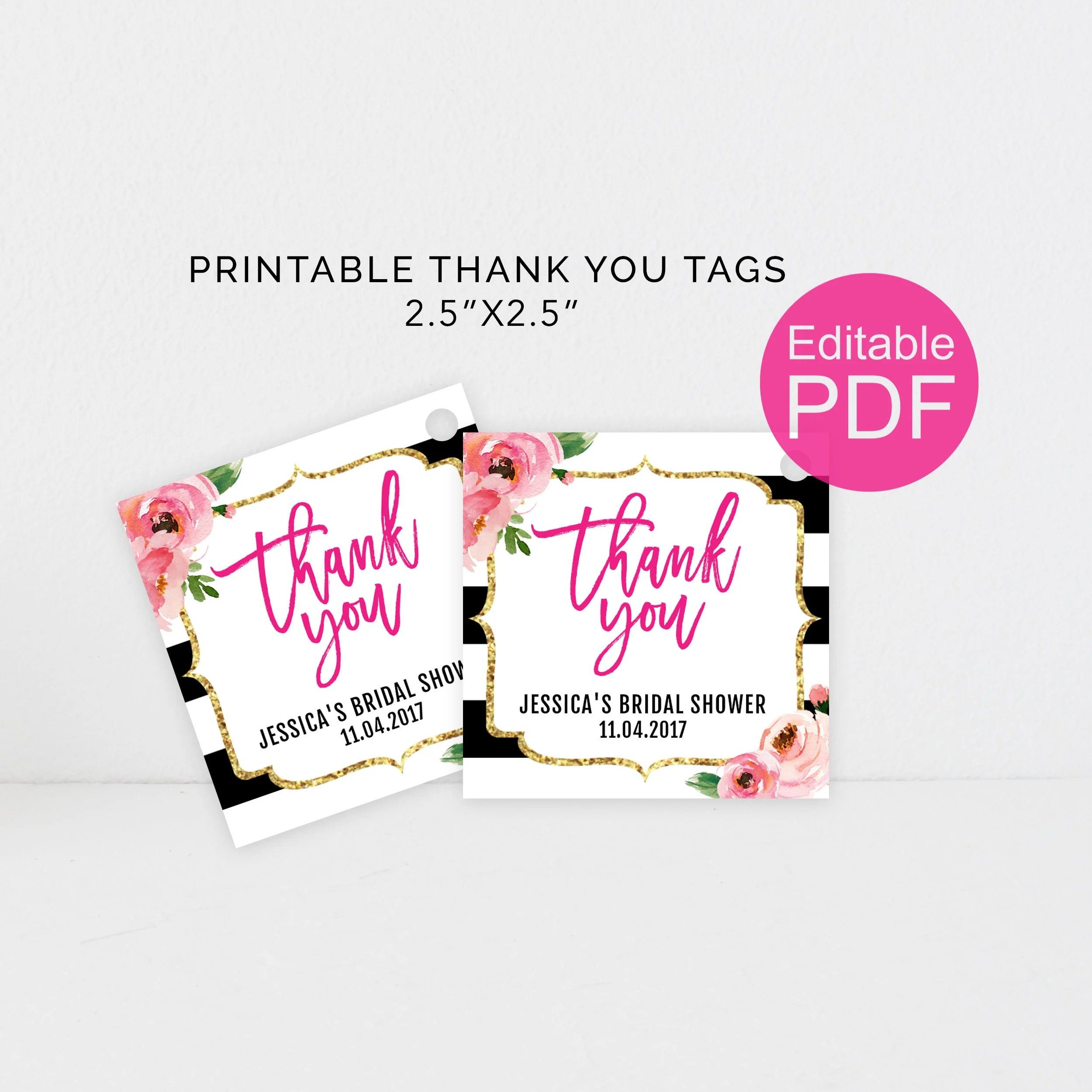 Kate Thank You Tags Template DIY Floral Thank You Tag Kate Etsy