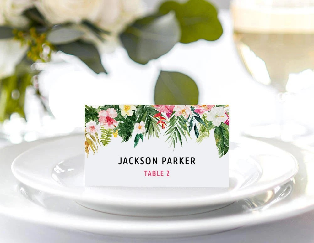 Tropical Place Card Template, Tropical Food Tent Card, DIY Place