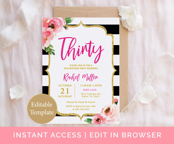 Kate 30th Birthday Invitation Template, Adult Birthday, Thirty