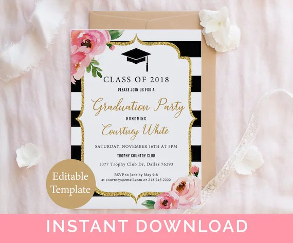 Floral Graduation Party Invitation Template, Kate Grad Party