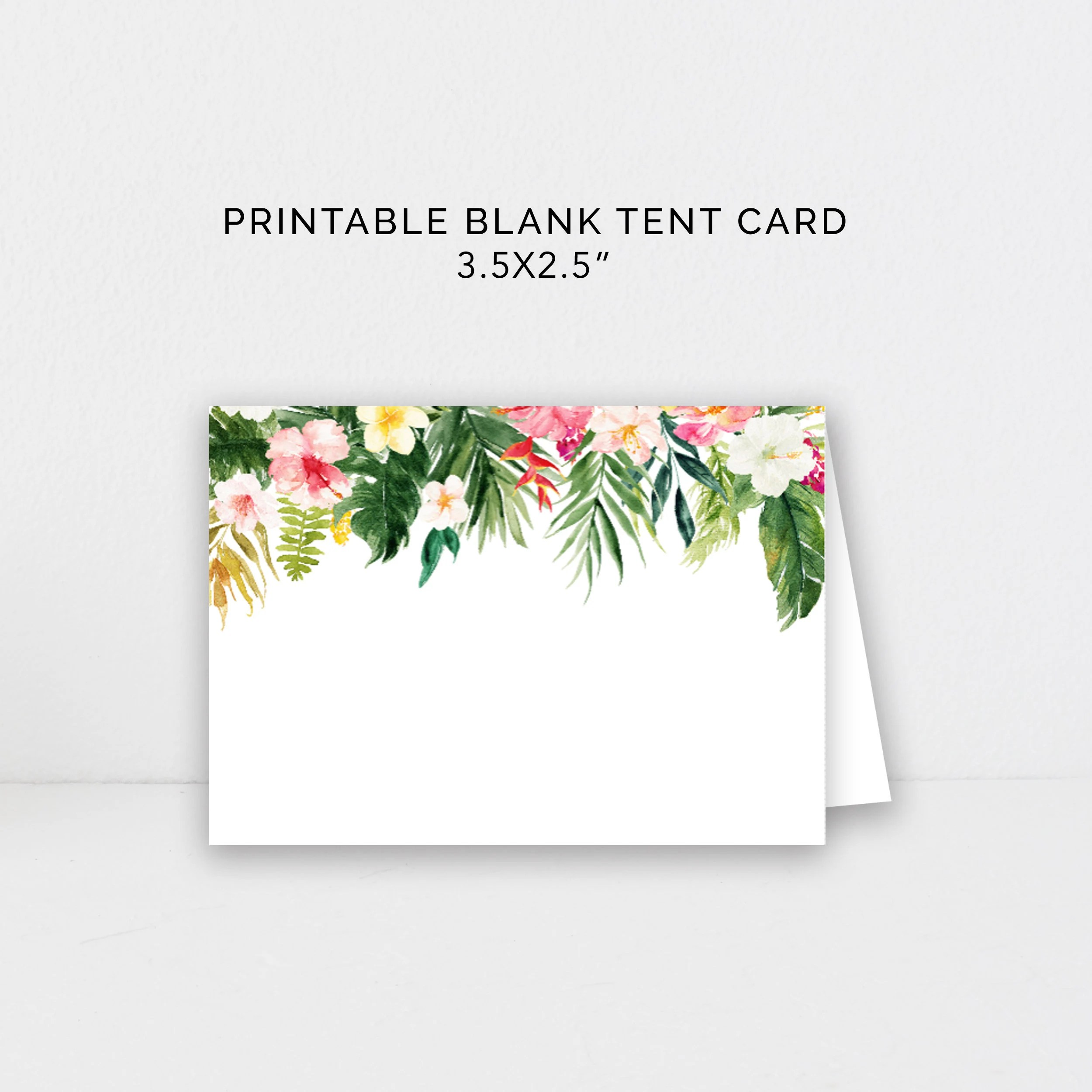 Tropical Food Cards Printable, Blank Tent Cards, Buffet Cards