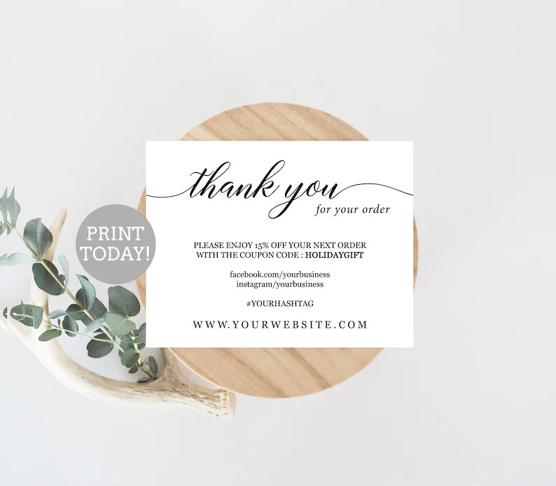 Business Thank You Card Template Etsy Seller Thank You Card Etsy