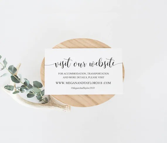 Wedding Website Insert Cards Editable Template Website Cards Etsy