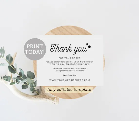Business Thank You Card Editable Template Etsy Seller Thank Etsy