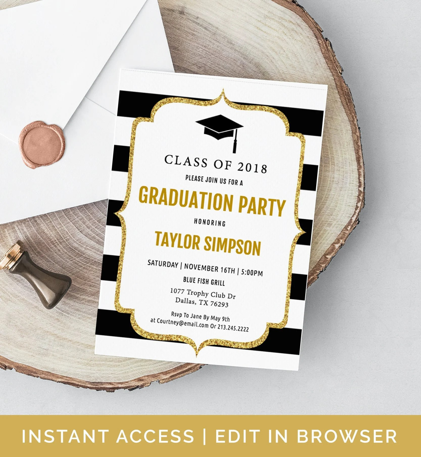 Graduation Invitation Template, Grad Announcement, Class of 2019