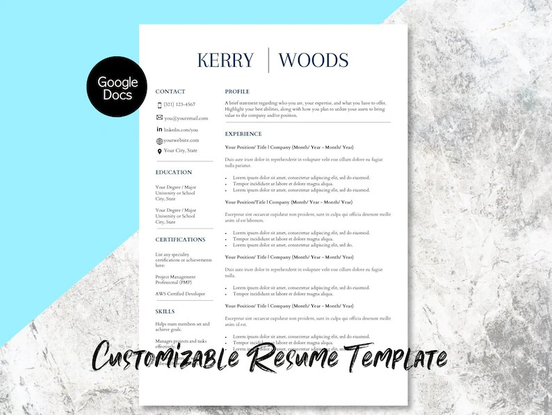 Google Docs Resume and Cover Letter Template Google Docs Etsy