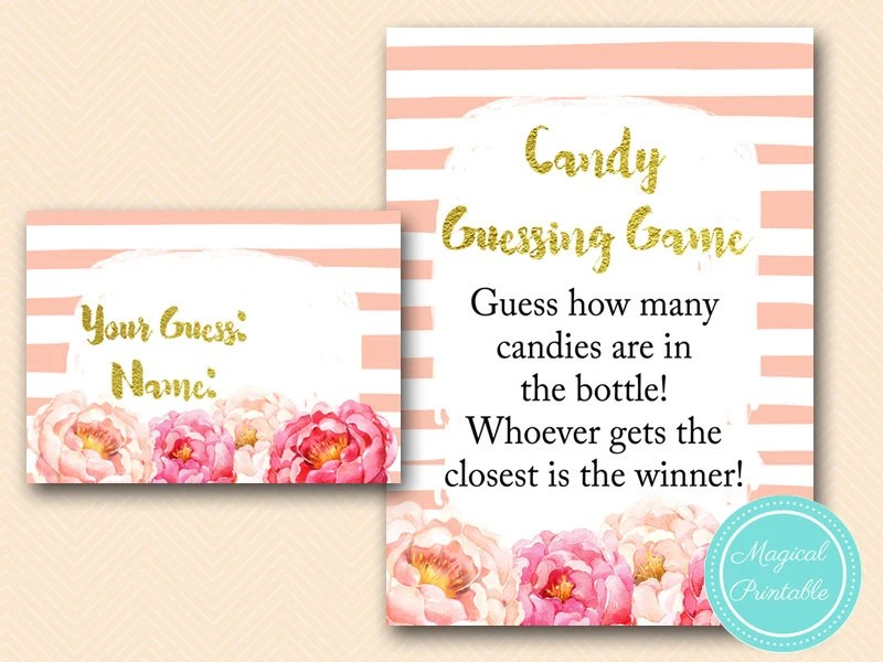 Candy Guessing Game Printable Guess how many candies in Jar Etsy