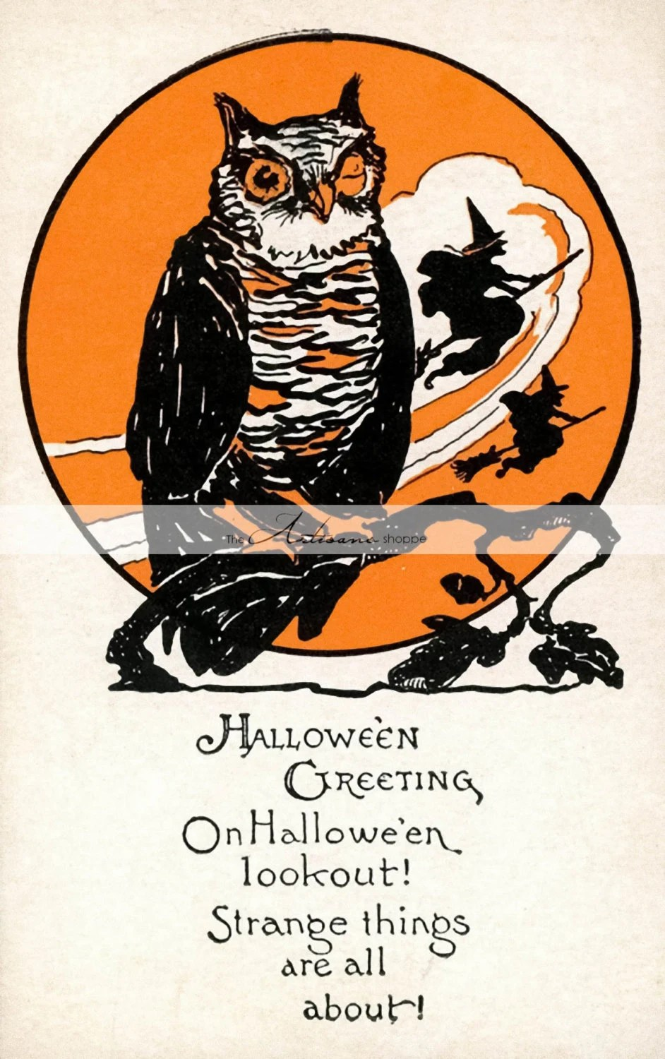 Digital Download Printable Art Owl Witch Halloween Antique Etsy