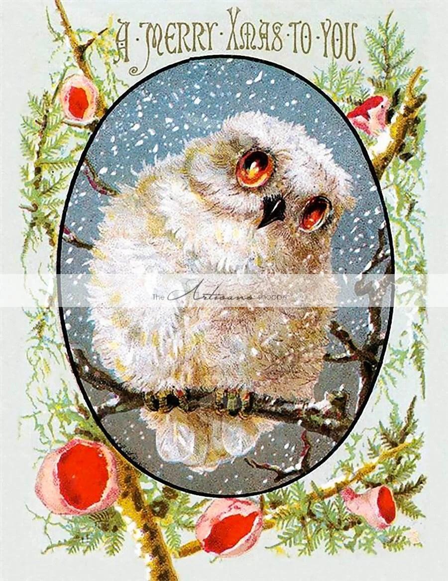 Snowy Owl Christmas Card Image Digital Download Printable Etsy