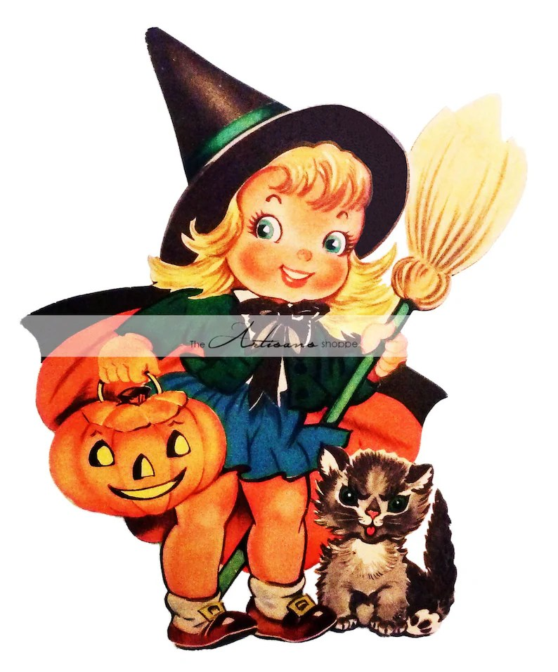Digital Download Printable Art Vintage Cute Witch Halloween Etsy