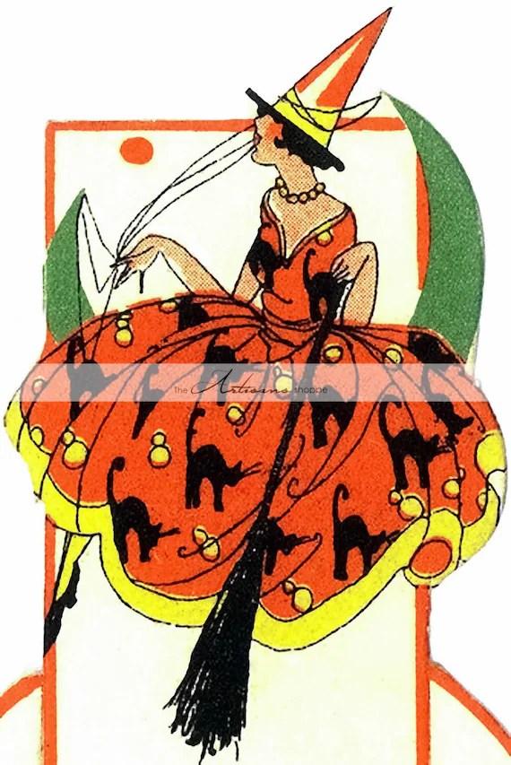 Digital Download Printable Art Vintage Art Deco Witch Etsy