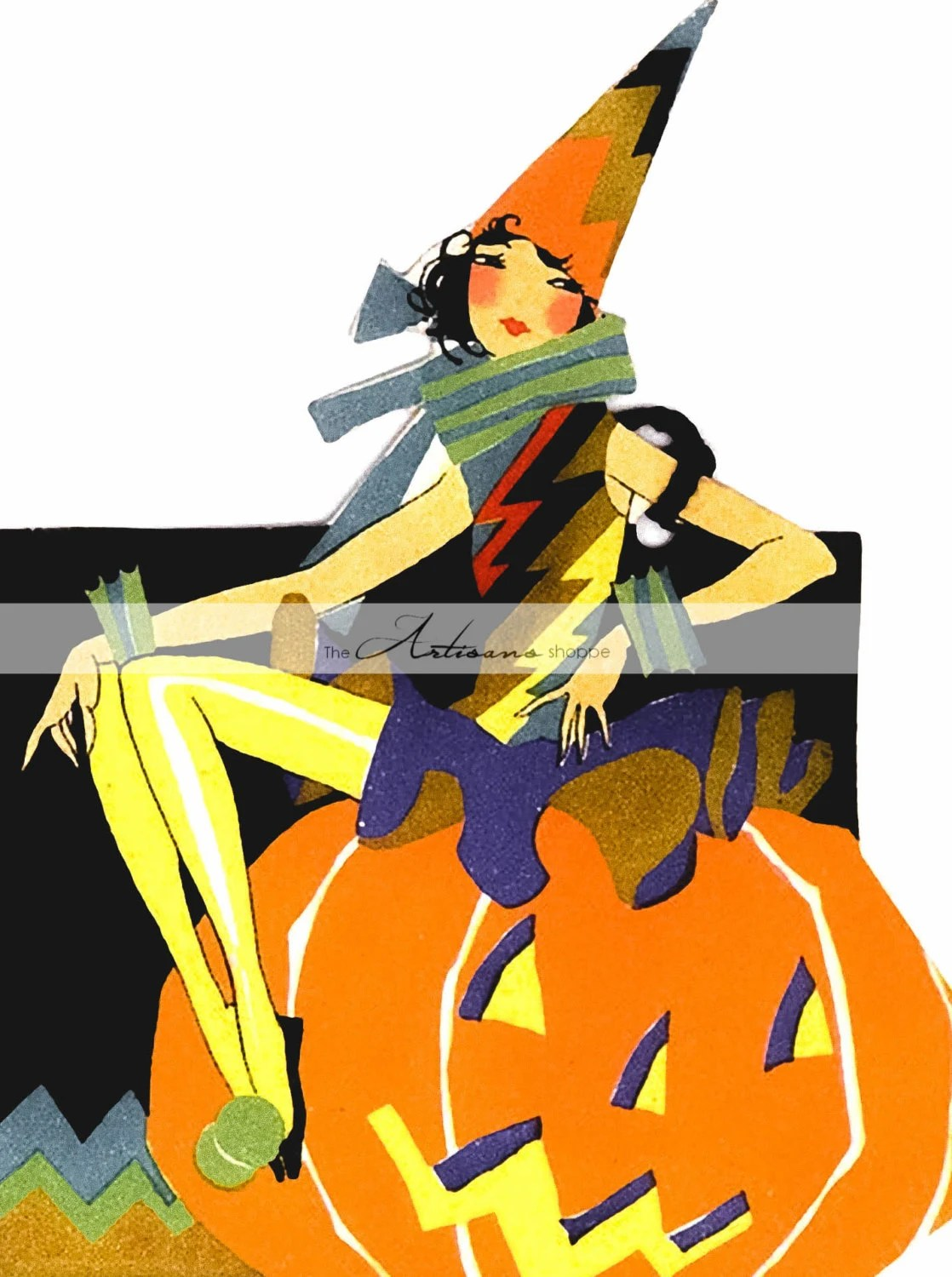 Digital Download Printable Art Art Deco Witch Halloween Etsy