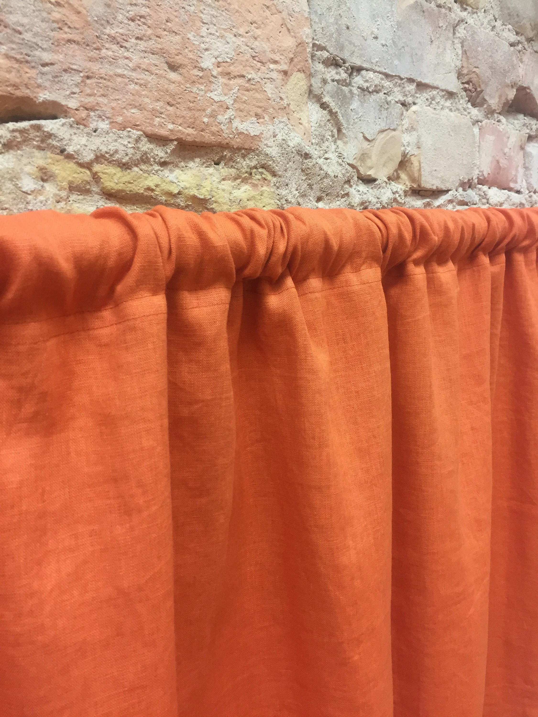 Orange Curtain Panels Orange Linen Curtain Panel Orange Curtain Panels Orange Drapes Custom Curtains Door Curtain Panel Stone Wash Linen Curtains Panel