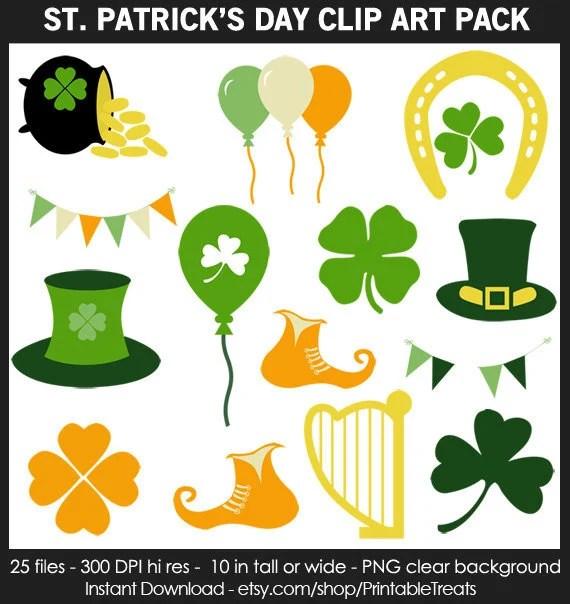 St Patricks Day Clipart Pack - Shamrock, Four Leaf Clover, Pot of Gold,  Leprechaun Hat, Horseshoe, Balloon, Lyre, Printable, Iron on, CUOK