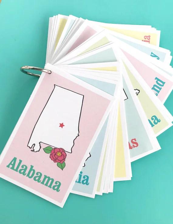 Printable STATES Flashcards Digital File Instant Download Etsy