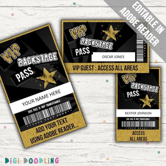 Rockstar Party VIP Passes Rockstar Party Backstage Pass Etsy