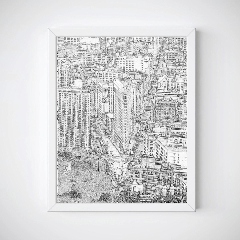 New York City Print New York Skyline Flatiron Building New Etsy