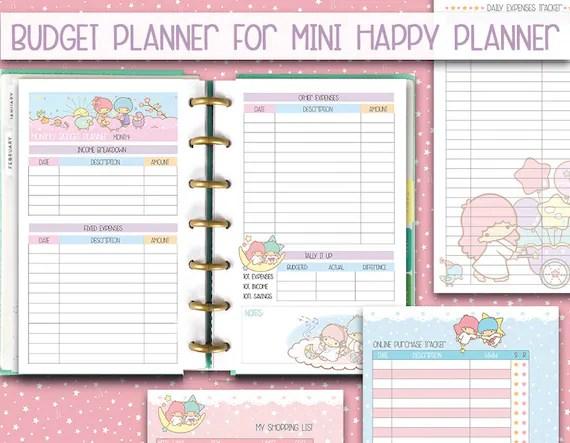 mini happy planner printable inserts Budget planner kawaii Etsy