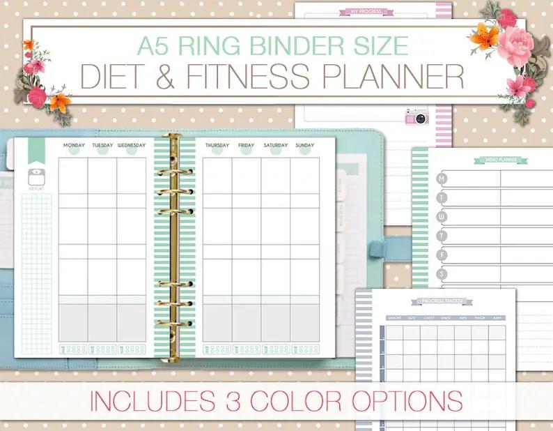 Fitness diet planner printable a5 health planner food journal Etsy