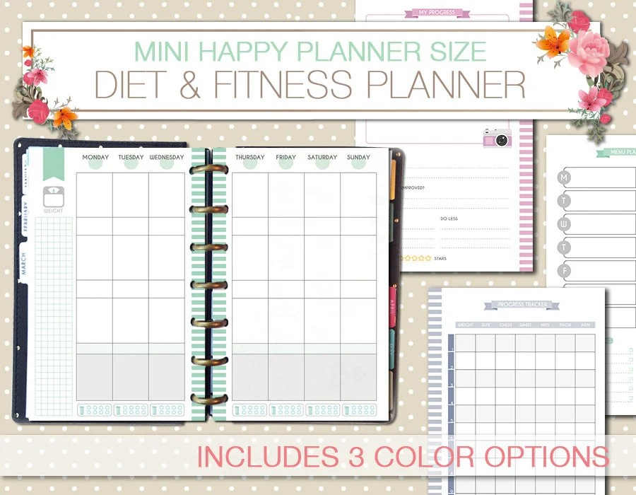 Mini Happy Planner diet and fitness printable planner food Etsy