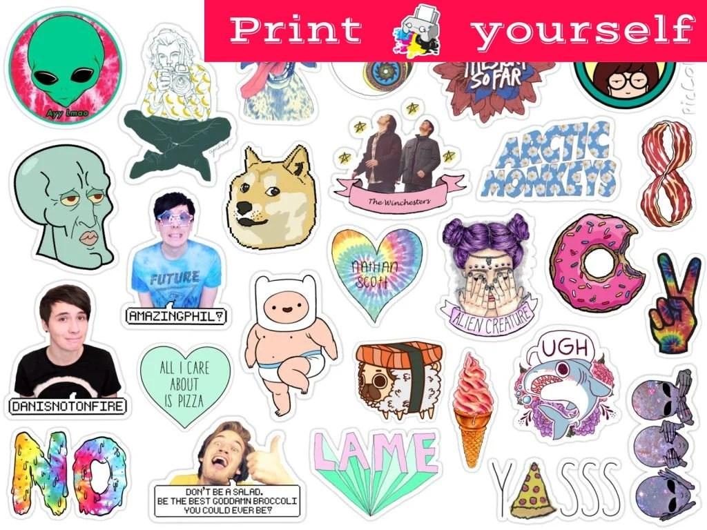 Set 126 Mockup printable Tumblr Stickers Stickers Set of Etsy